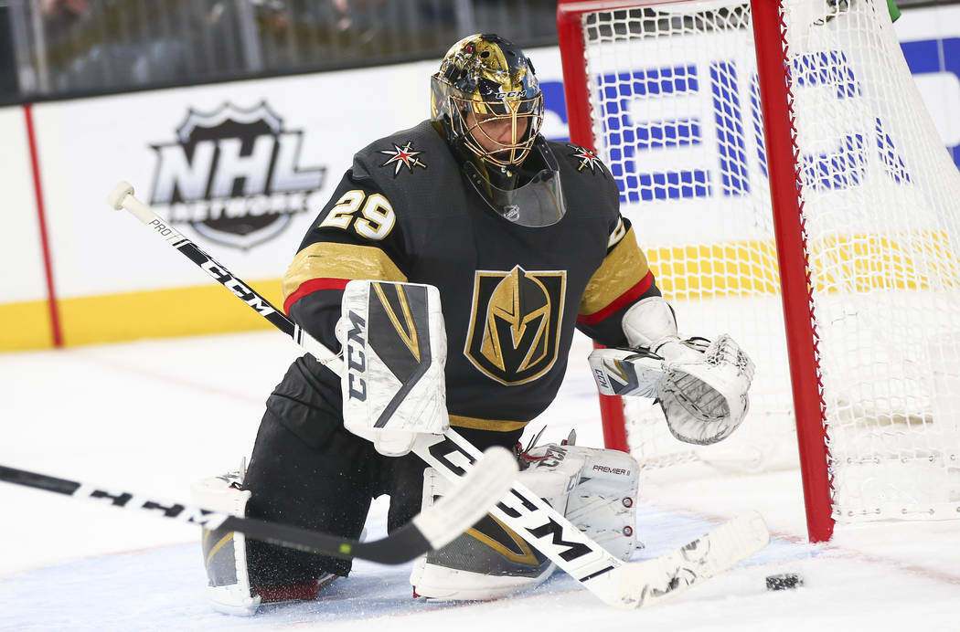 Golden Knights goaltender Marc-Andre Fleury (29) defends the net during the third period of an NHL hockey game against the Arizona Coyotes at T-Mobile Arena in Las Vegas on Tuesday, Feb. 12, 2019. ...