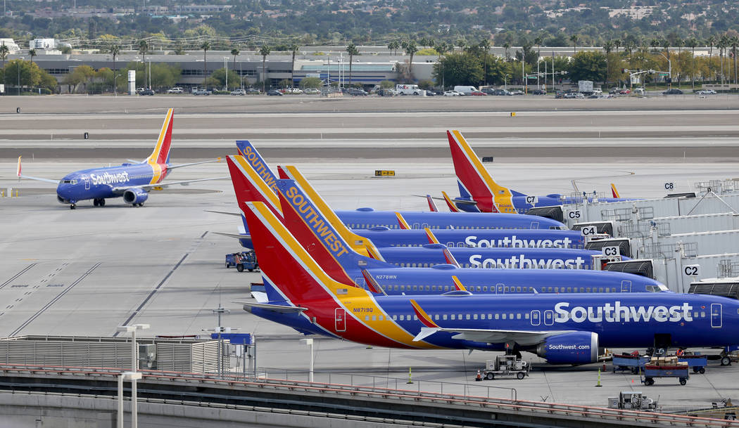 A Southwest Airlines plane taxis at McCarran International Airport in Las Vegas Thursday, Oct. 25, 2019. K.M. Cannon Las Vegas Review-Journal @KMCannonPhoto