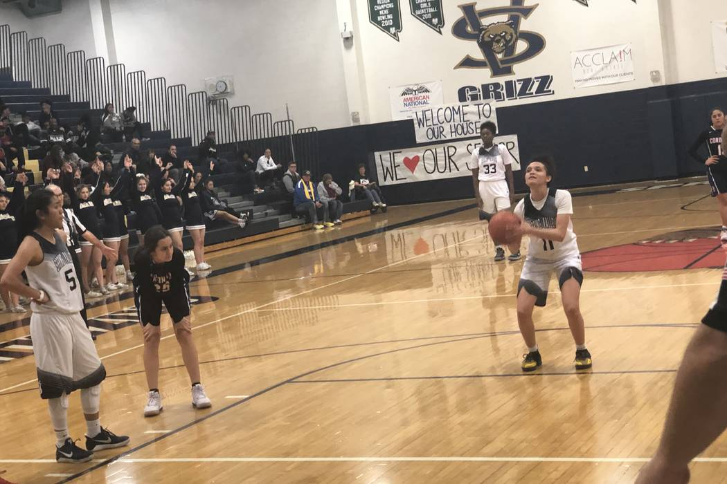 Spring Valley senior guard Rory Carter shoots a free throw in the fourth quarter of an 82-55 victory of Coronado on Tuesday, February 12, at Spring Valley High School. Sam Gordon/Las Vegas Review- ...