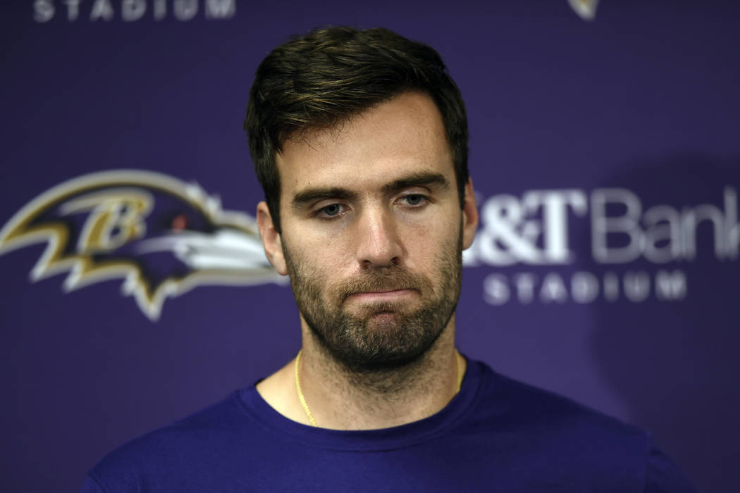 In this Nov. 4, 2018, file photo, Baltimore Ravens quarterback Joe Flacco speaks at a news conference after an NFL football game against the Pittsburgh Steelers, in Baltimore. (AP Photo/Gail Burto ...