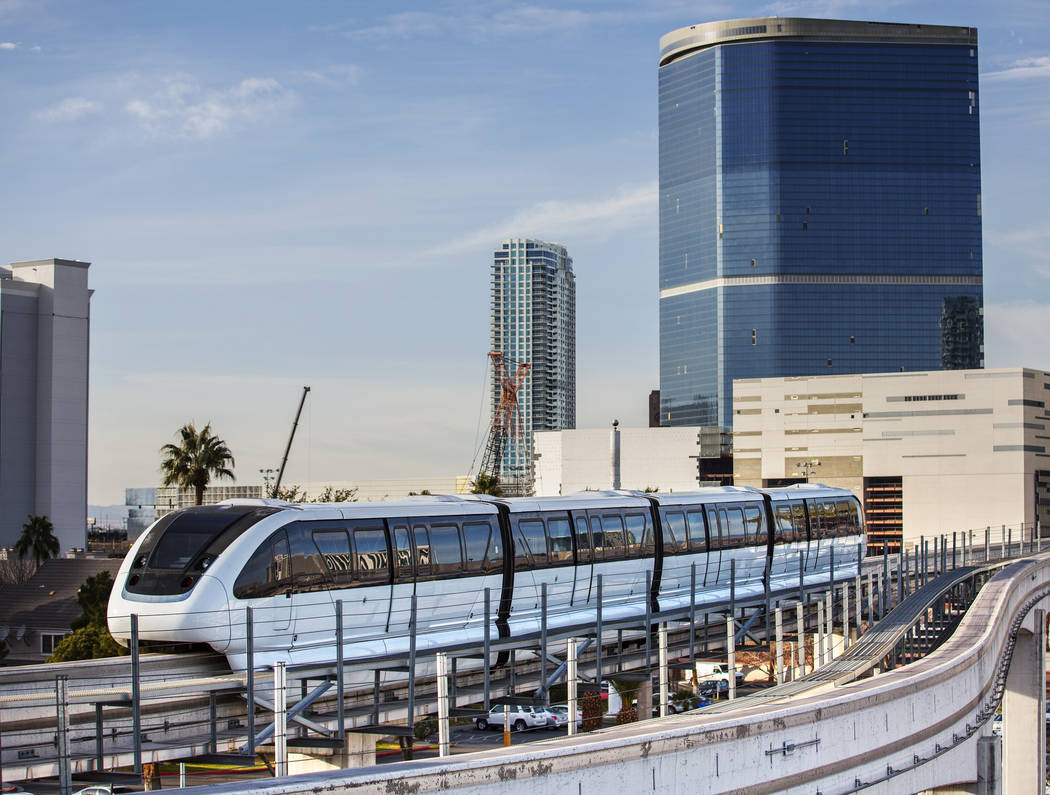 A southbound monorail approaches Convention Center Station on Tuesday, Feb. 12, 2019, in Las Vegas. (Benjamin Hager/Las Vegas Review-Journal) @BenjaminHphoto