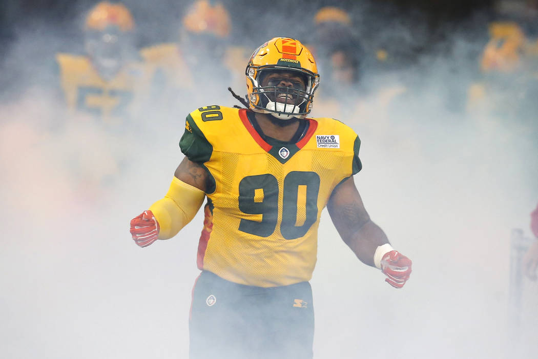 Arizona Hotshots defensive tackle Will Sutton III (90) in the second half during an AAF football game against the Salt Lake Stallions, Sunday, Feb. 10, 2019, in Tempe, Ariz. (AP Photo/Rick Scuteri)