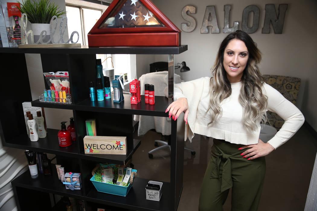 Nicole Christie is photographed inside her new business T.H.E. Salon, following a ribbon cutting ceremony at the Veterans Village in Las Vegas, Wednesday, Feb. 13, 2019. (Erik Verduzco/Las Vegas R ...