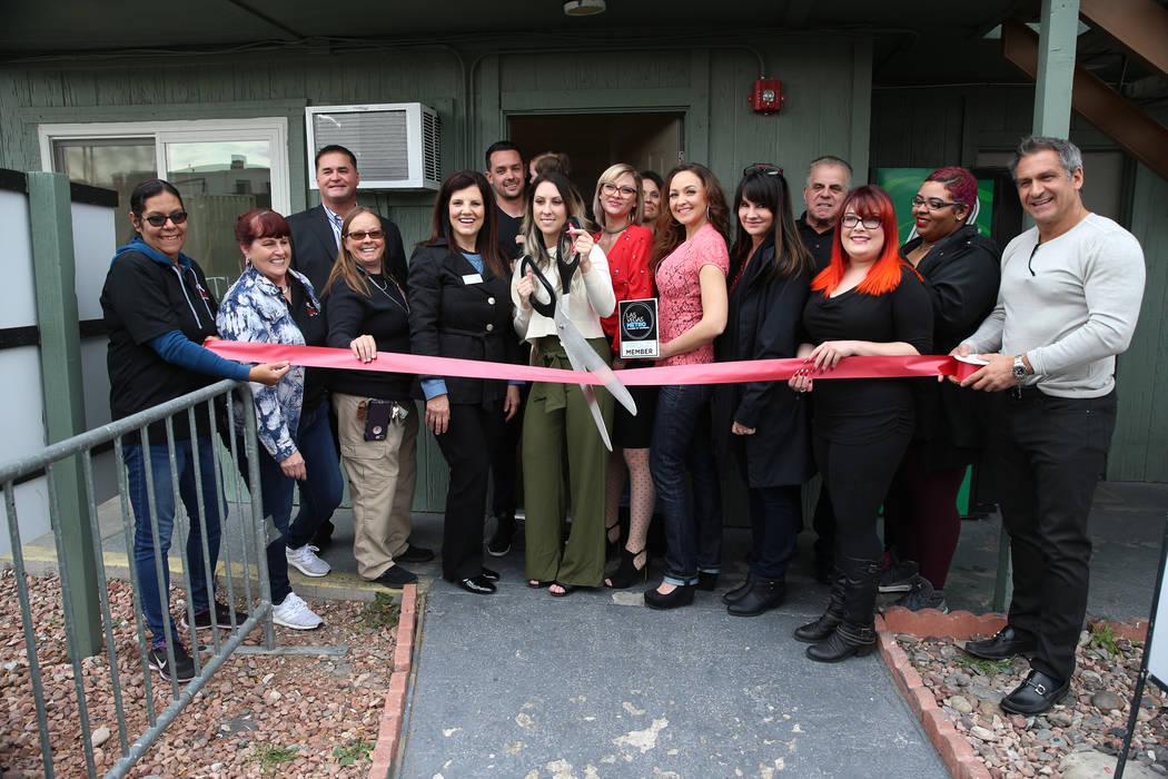 People attend a ribbon cutting ceremony for T.H.E. Salon at the Veterans Village in Las Vegas, Wednesday, Feb. 13, 2019. (Erik Verduzco/Las Vegas Review-Journal) @Erik_Verduzco
