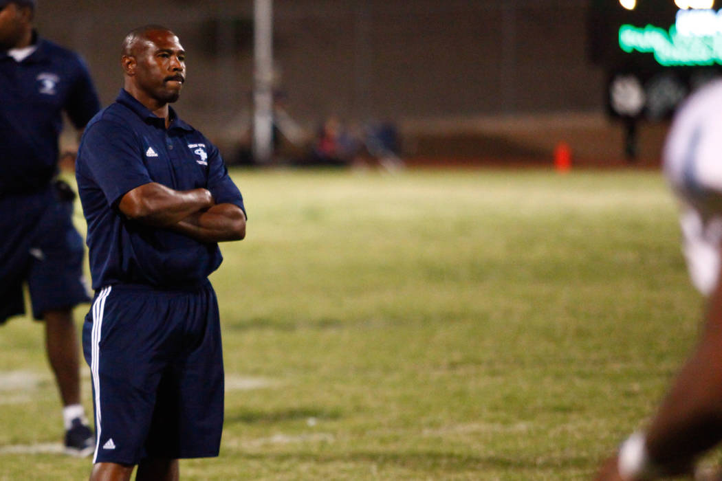 Canyon Springs Pioneers high school football head coach Hunkie Cooper reacts after Palo Verde Panthers intercept a pass during the last minutes of the 4th quarter at Palo Verde High School in Las ...