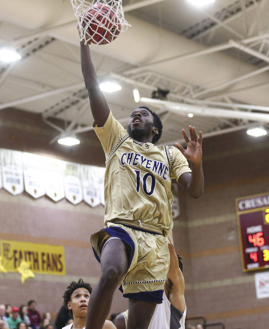 Cheyenne's De'Kquante Hayes (10) goes to the basket during the second half of a basketball game at Faith Lutheran High School in Las Vegas on Wednesday, Feb. 13, 2019. (Chase Stevens/Las Vegas Rev ...