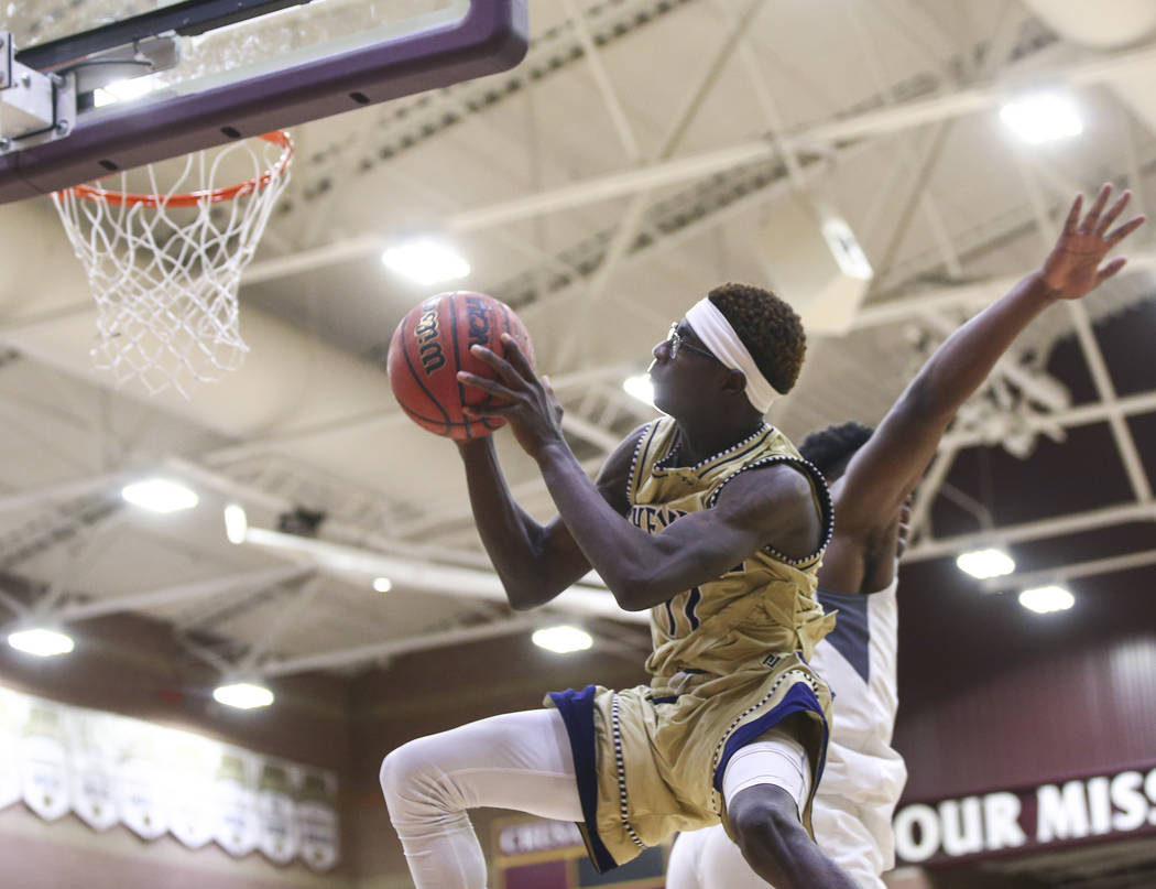 Cheyenne's Tommie Lindsey (11) goes to the basket during the second half of a basketball game at Faith Lutheran High School in Las Vegas on Wednesday, Feb. 13, 2019. (Chase Stevens/Las Vegas Revie ...