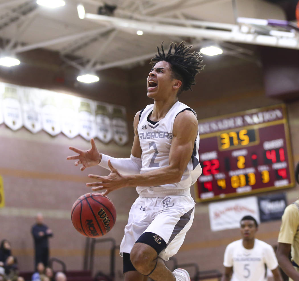 Faith Lutheran's Donavan Jackson (2) reacts after getting fouled by Cheyenne during the first half of a basketball game at Faith Lutheran High School in Las Vegas on Wednesday, Feb. 13, 2019. (Cha ...