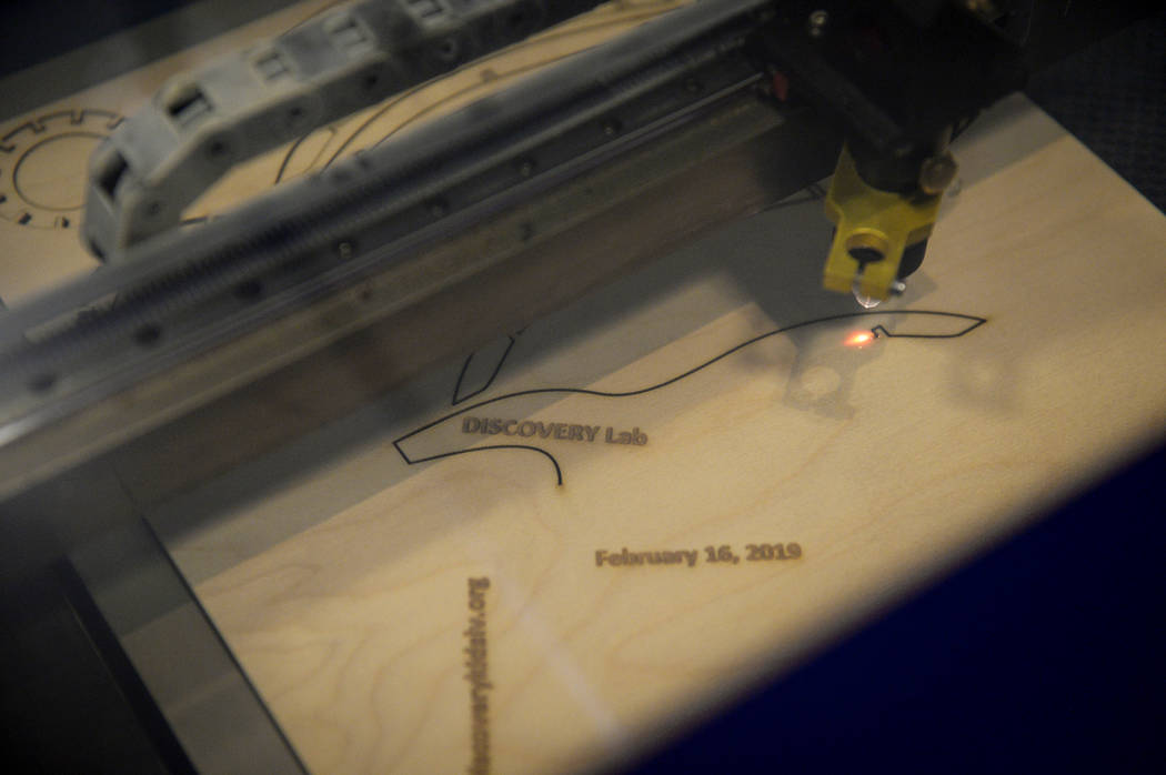 Laser cutting is available at the new Discovery Lab for children and adults to use at the Discovery Children's Museum in Las Vegas, Tuesday, Feb. 12, 2019. Caroline Brehman/Las Vegas Review-Journal