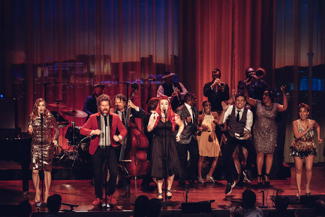 Scott Bradlee's Postmodern Jukebox is shown at Myron's Cabaret Jazz in August 2017, where the band performed two shows for a PBS special. (Stacie Hess/PBS)