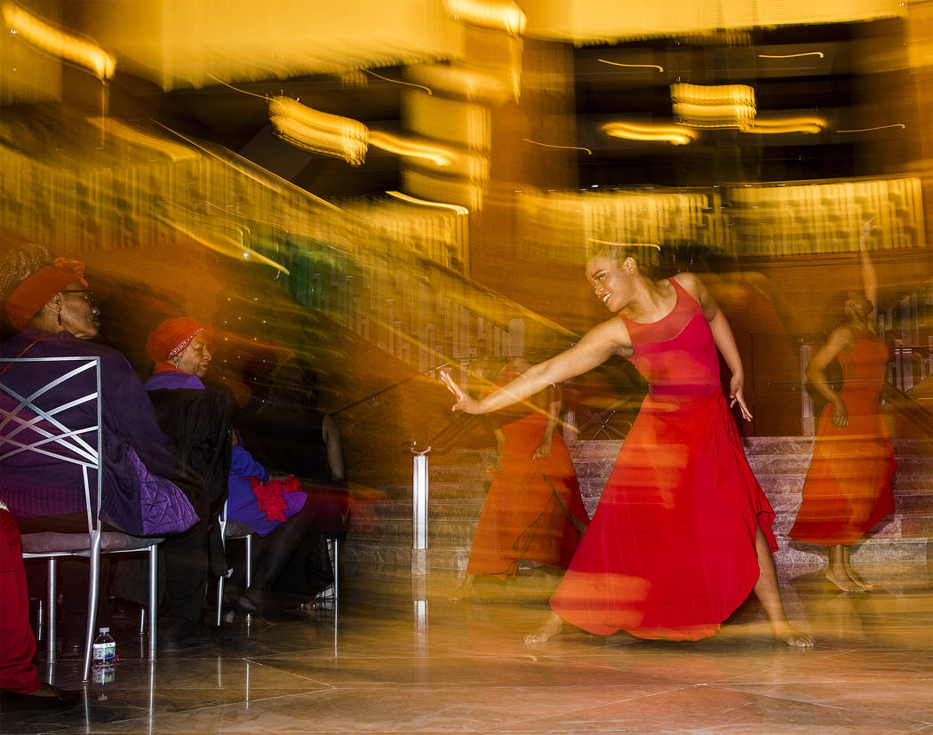 The West Las Vegas Arts Center Performance Ensemble dances during an event in coordination with Black History Month on Wednesday, Feb. 13, 2019, at The Smith Center, in Las Vegas. (Benjamin Hager/ ...
