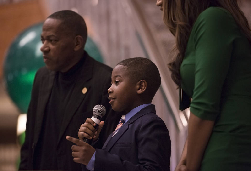 Trey Young-Winfrey, 9, talks about his experience in the Kid Mayor program through Strong Start Nevada during an event in coordination with Black History Month on Wednesday, Feb. 13, 2019, at The ...