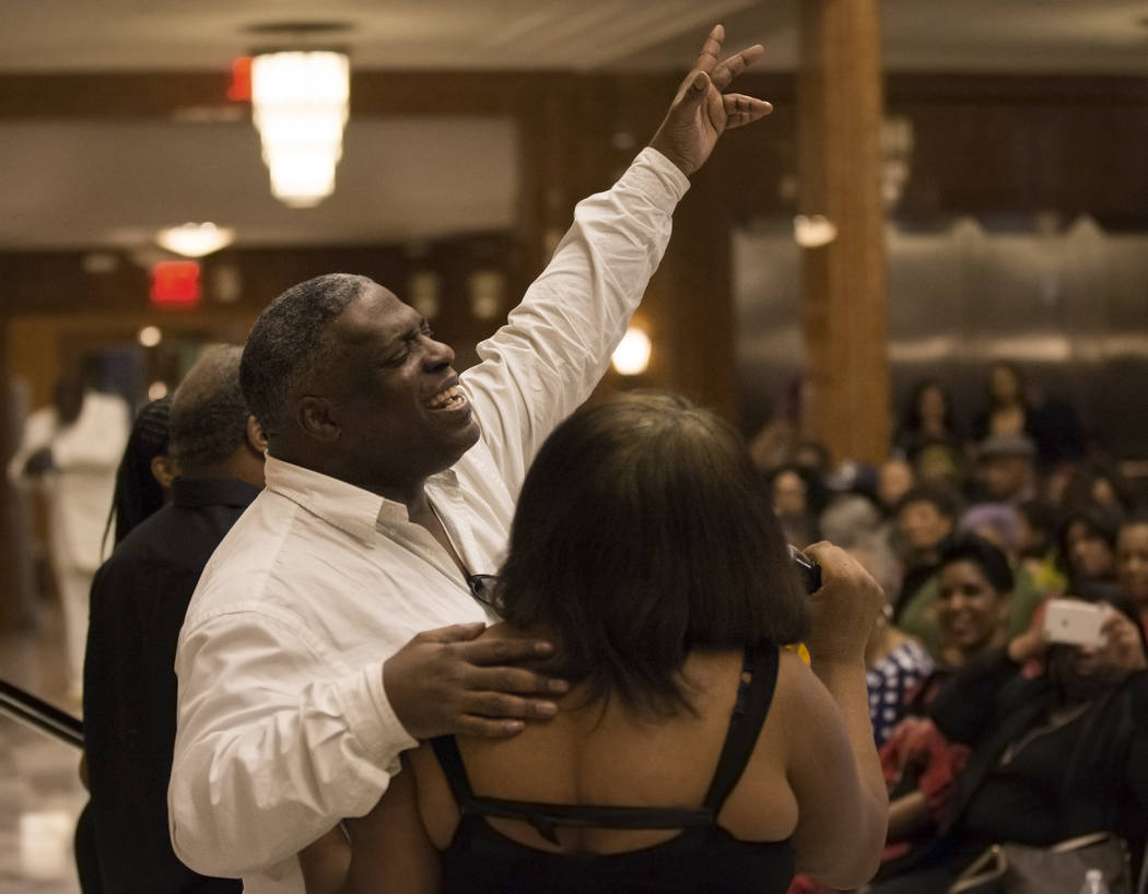 William Stoakley, left, a choir member from The Blind Center of Nevada, performs during an event in coordination with Black History Month on Wednesday, Feb. 13, 2019, at The Smith Center, in Las V ...