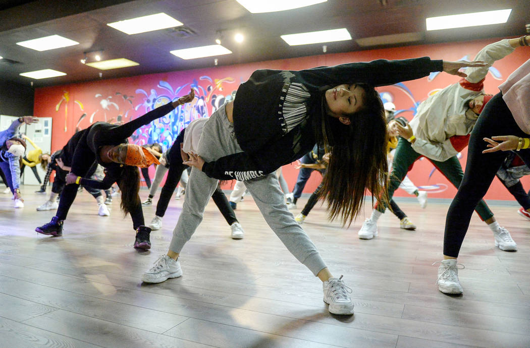 Jayna Hughes, 13, dances during a training class at Elevate Dance Center in Las Vegas, Tuesday, Feb. 19, 2019. (Caroline Brehman/Las Vegas Review-Journal) @carolinebrehman