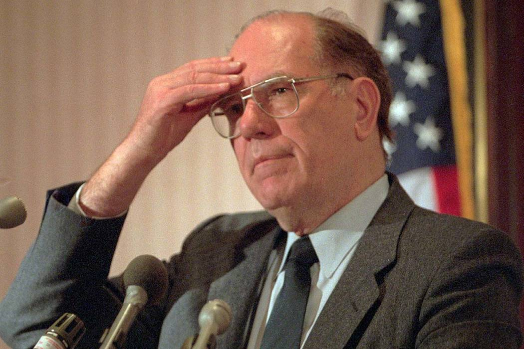 In this Feb. 3, 1994, file photo, Lyndon LaRouche Jr. gestures during a news conference in Arlington, Virginia. Political extremist and perennial presidential candidate LaRouche has died on Feb. 1 ...