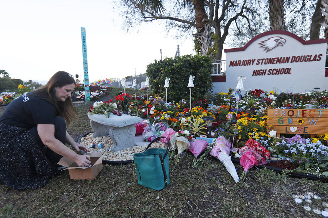 Suzanne Devine Clark, an art teacher at Deerfield Beach Elementary School, places painted stones at a memorial outside Marjory Stoneman Douglas High School during the one-year anniversary of the s ...