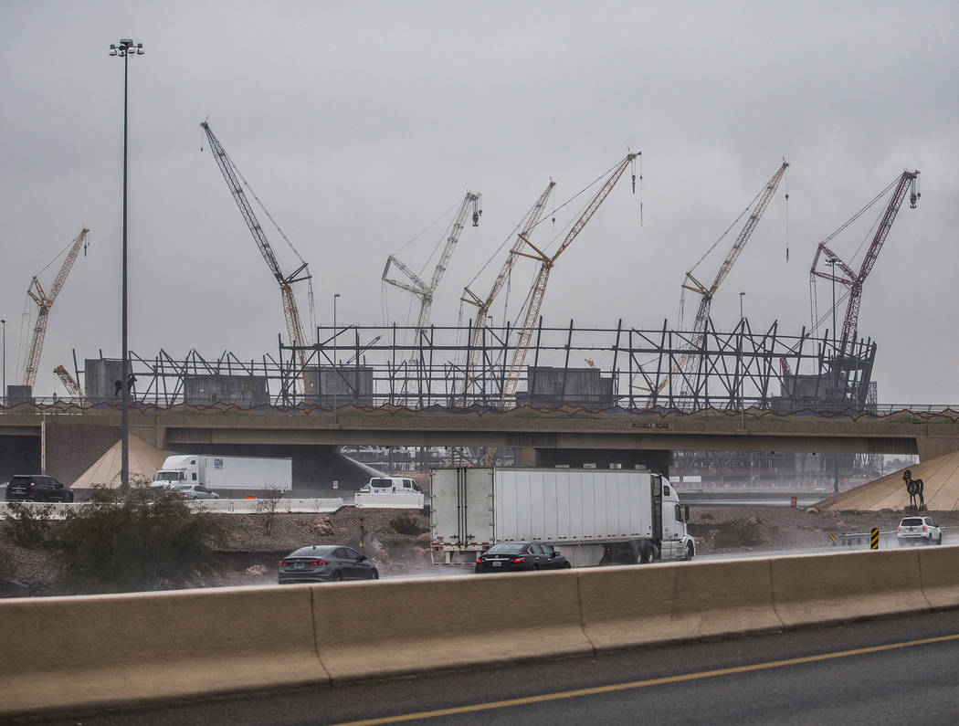 Rain falls on the Raiders Stadium construction site on Thursday, Feb. 14, 2019, in Las Vegas. (Benjamin Hager Review-Journal) @BenjaminHphoto