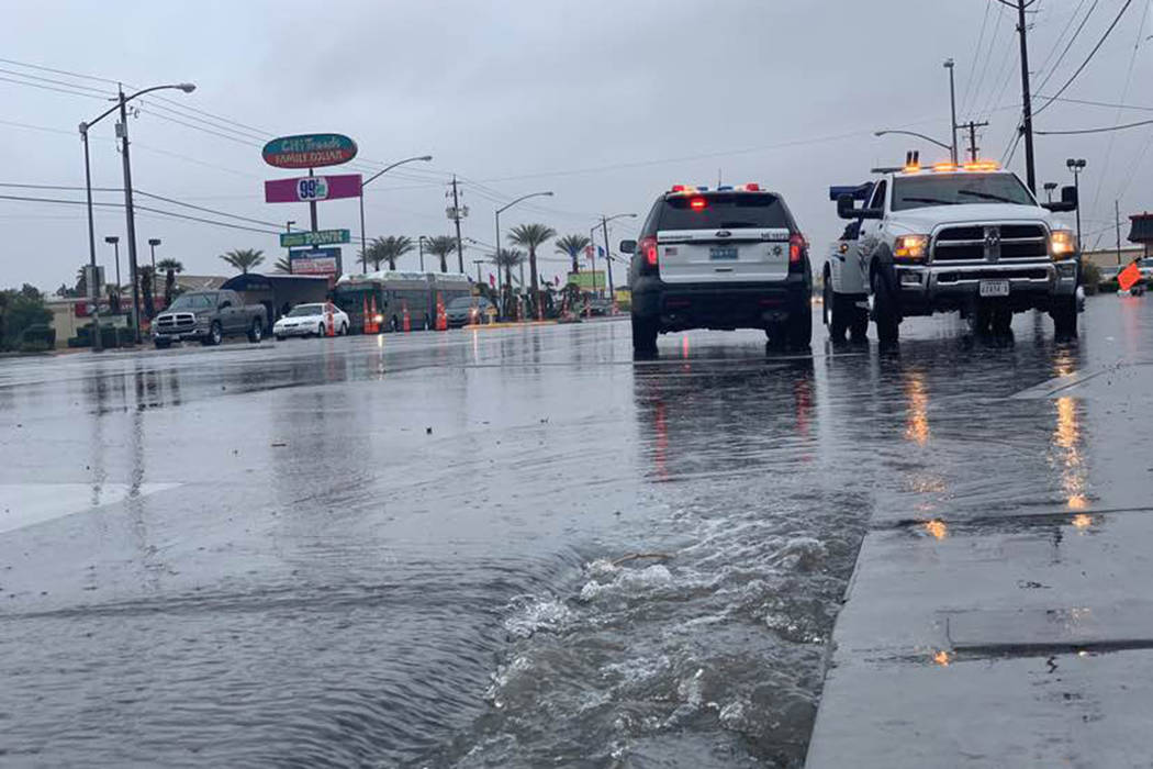 Las Vegas Boulevard North at Cheyenne Avenue also was closed in both directions due to flooding, Thursday, Feb. 14, 2019, according to the Nevada Department of Transportation. (Mat Luschek/Las Veg ...