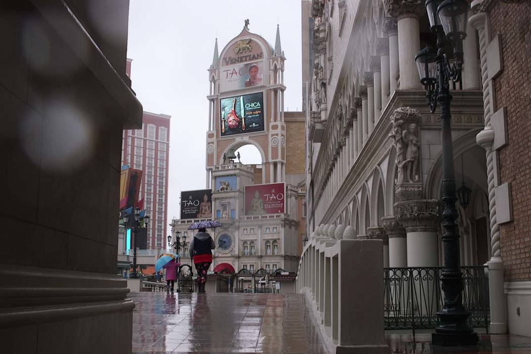 Rain at The Venetian on the Las Vegas Strip on Feb. 14, 2019. (Mat Luschek/Las Vegas Review-Journal)