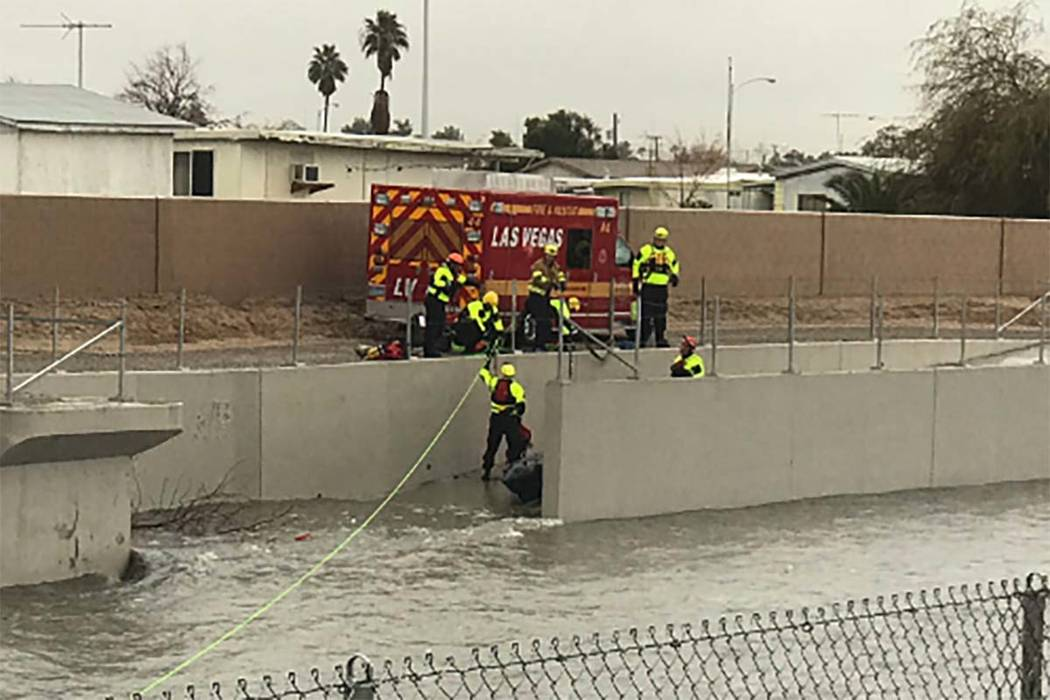 Las Vegas Fire Department Tactical Rescue performs a swift-water rescue near Carey Avenue and Kenneth Road in North Las Vegas, Thursday, Feb. 14, 2019. (North Las Vegas Police Department/Twitter)
