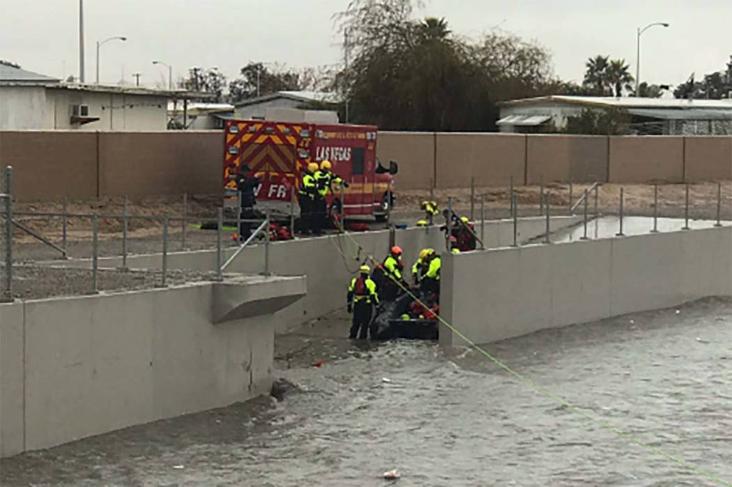 5414586d4a96 Las Vegas Fire Department Tactical Rescue performs a swift-water rescue  near Carey Avenue and