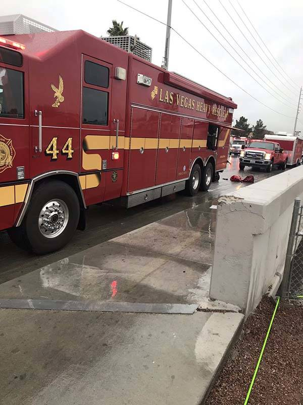 Las Vegas Fire Department Tactical Rescue is involved in a swift-water rescue near Carey Avenue and Kenneth Road in North Las Vegas, Thursday, Feb. 14, 2019. (North Las Vegas Police Department/Twi ...