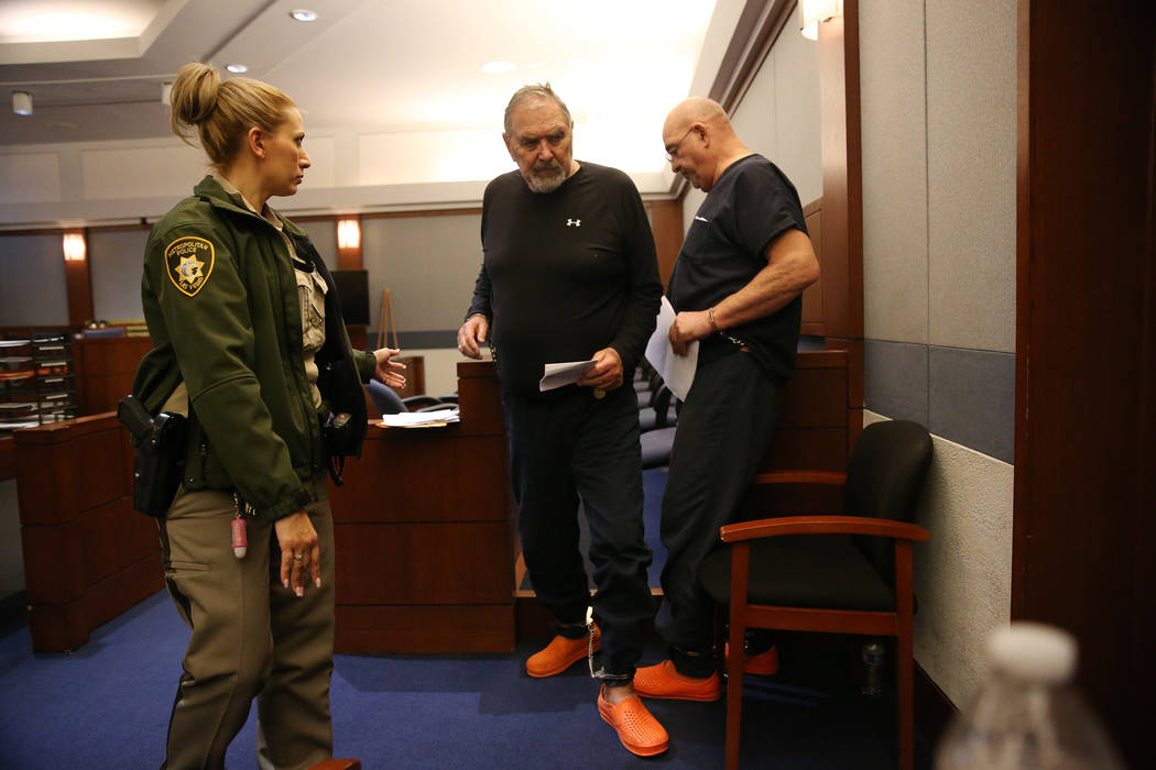 Marcel Chappuis is escorted out the court room following his case hearing at the Regional Justice Center in Las Vegas, Thursday, Feb. 14, 2019. Marcel Chappuis and his wife, Patricia, are operator ...