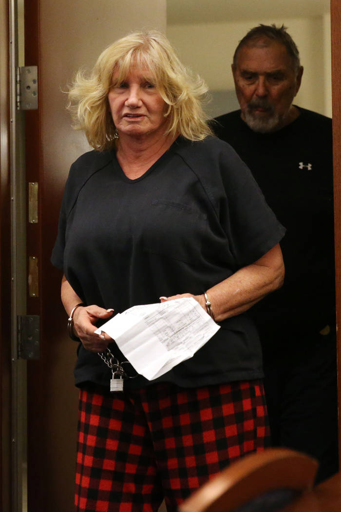 Patricia Chappuis, center, followed by her husband Marcel, appear in court for a court hearing at the Regional Justice Center in Las Vegas, Thursday, Feb. 14, 2019. Marcel Chappuis and his wife, P ...