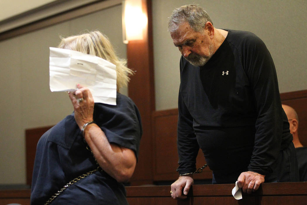 Patricia Chappuis, left, with her husband Marcel, appear in court for a court hearing at the Regional Justice Center in Las Vegas, Thursday, Feb. 14, 2019. Marcel Chappuis and his wife, Patricia, ...