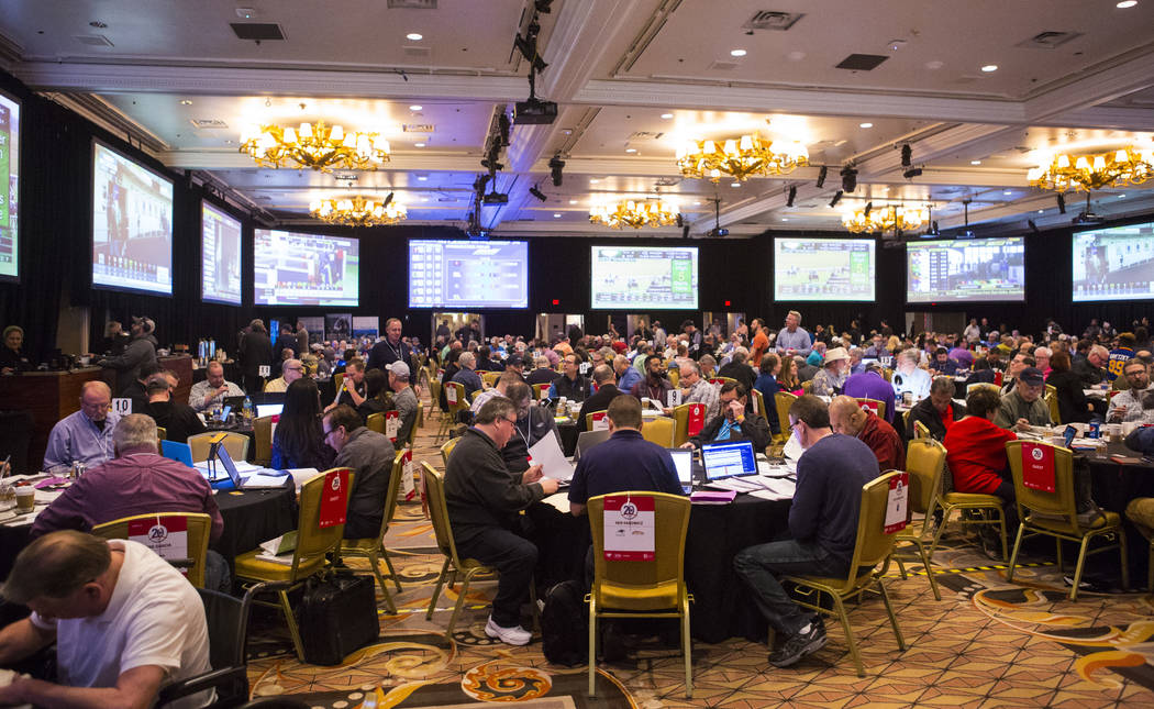 Bettors gather for the National Handicapping Championship at Treasure Island in Las Vegas on Friday, Feb. 8, 2019. (Chase Stevens/Las Vegas Review-Journal) @csstevensphoto
