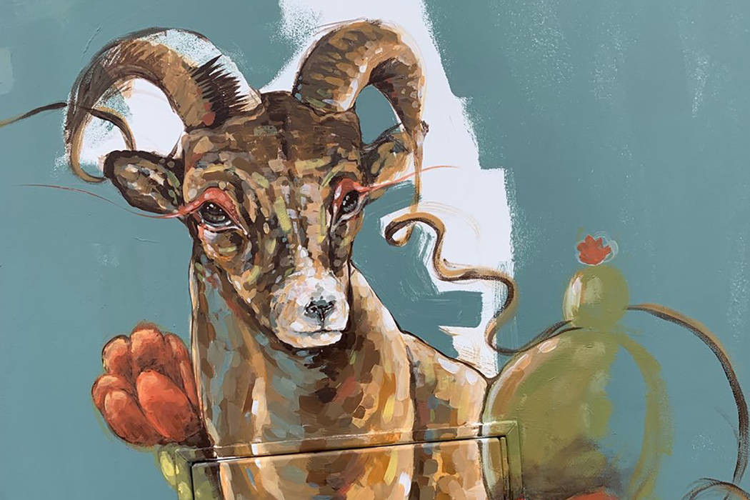 Alejandro Ponce and Susan Neiry together designed a Nevada-inspired mural now painted on a utility box in Sun City Summerlin. Quails sit on both sides of the utility box while a bighorn sheep cove ...