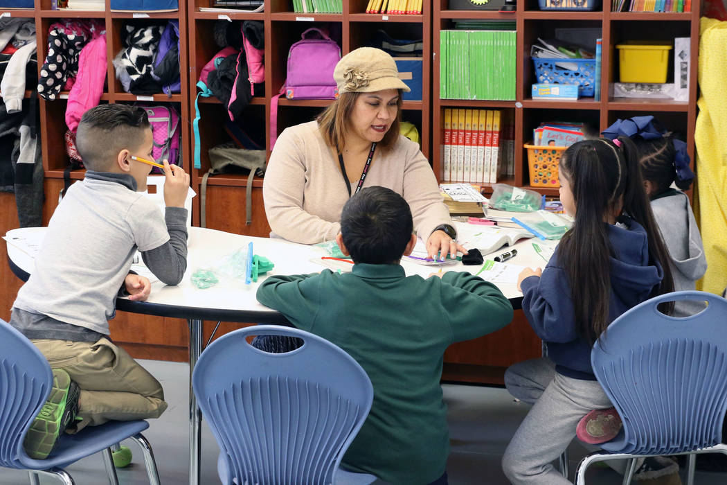 Crystal Whitfield teaches her second graders at Quest Academy on Tuesday, Feb. 12, 2019, in Las Vegas. (Bizuayehu Tesfaye/Las Vegas Review-Journal) @bizutesfaye