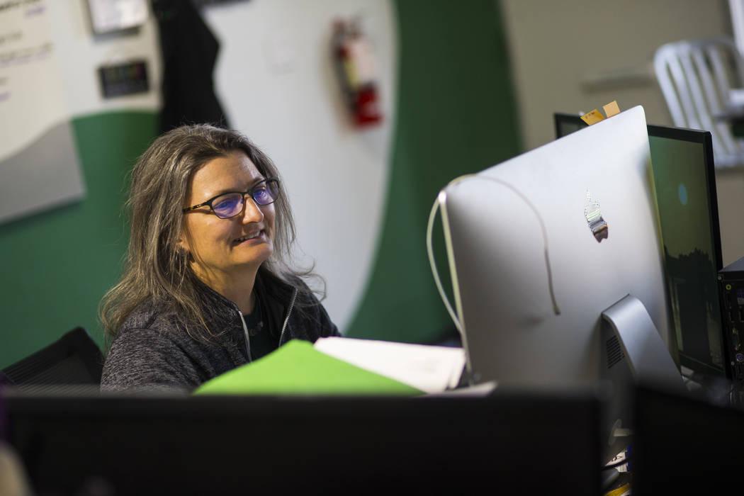 Monica Gresser, owner of Brazen Architecture, works at her office in Las Vegas on Wednesday, Feb. 13, 2019. (Chase Stevens/Las Vegas Review-Journal) @csstevensphoto