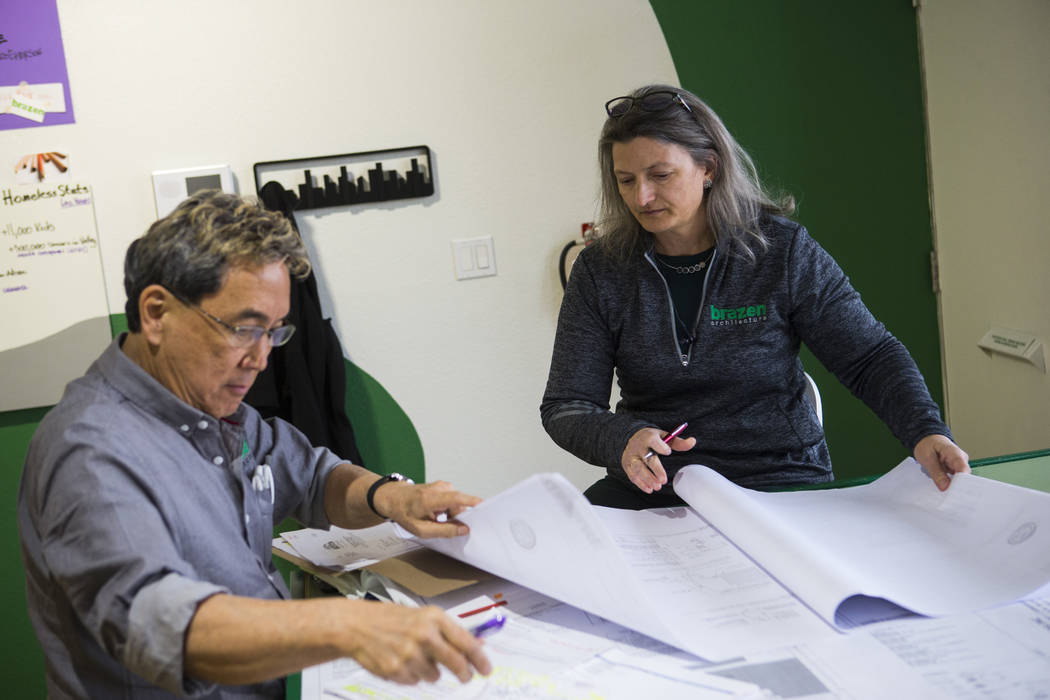 Keith Tamura, designer, and Monica Gresser, owner of Brazen Architecture, and work at their office in Las Vegas on Wednesday, Feb. 13, 2019. (Chase Stevens/Las Vegas Review-Journal) @csstevensphoto