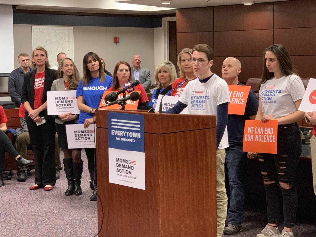 "Bennet Gardner, 17, a senior at Palo Verde High School in Las Vegas and a Students Demand Action volunteer, addresses supporters of expanded background checks at the Legislature Tuesday: ""I'm ..."