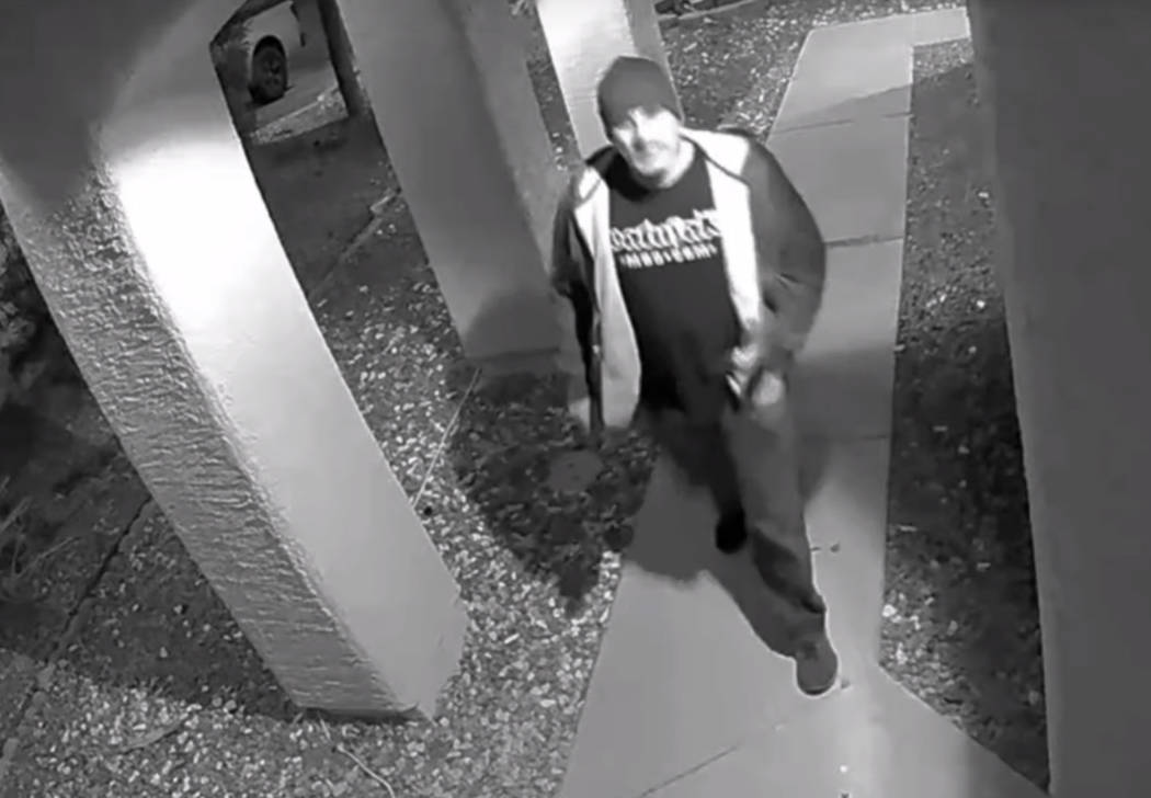 A package thief is captured on surveillance camera from the front porch of a residence located in the area of West Lake Mead Boulevard and North Rampart Boulevard. (LVMPD)