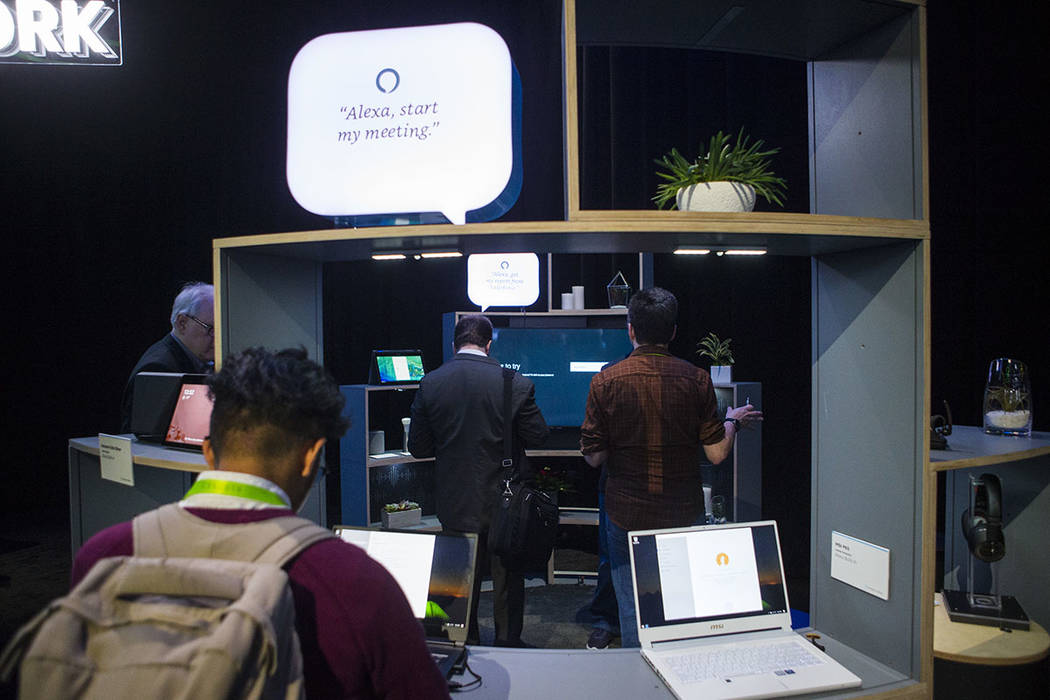 Attendees explore a room showcasing products integrated with Amazon's Alexa at the Sands Expo and Convention Center during CES in Las Vegas on Thursday, Jan. 10, 2019. (Chase Stevens/Las Vegas Rev ...