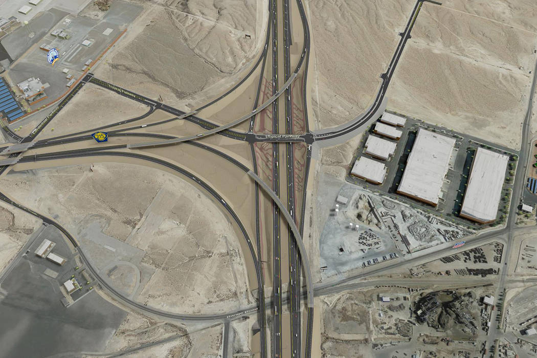 The planned Interstate 15-215 Beltway interchange project near the Las Vegas Motor Speedway is scheduled to get underway in late 2019. (Nevada Department of Transportation)