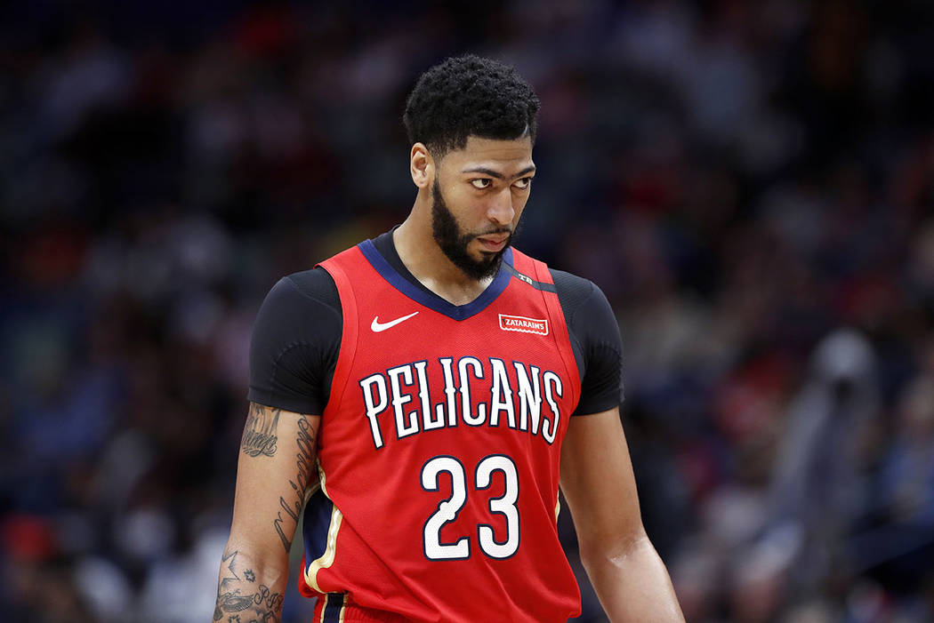 New Orleans Pelicans forward Anthony Davis (23) during the first half of an NBA basketball game in New Orleans, Thursday, Feb. 14, 2019. (AP Photo/Tyler Kaufman)