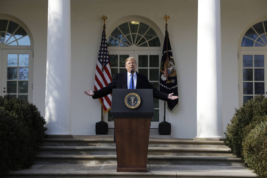 President Donald Trump speaks during an event in the Rose Garden at the White House to declare a national emergency in order to build a wall along the southern border, Friday, Feb. 15, 2019, in Wa ...