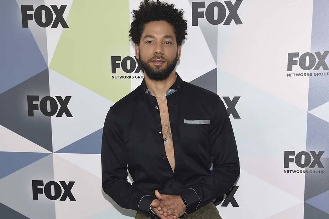 "Jussie Smollett, a cast member in the TV series ""Empire,"" attends the Fox Networks Group 2018 programming presentation afterparty in New York on May 14, 2018. (Evan Agostini/Invision/AP, File)"