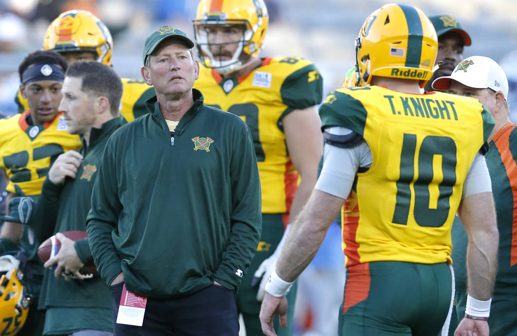 Arizona Hotshots head coach Rick Neuheisel in the second half during an AAF football game against the Salt Lake Stallions, Sunday, Feb. 10, 2019, in Tempe, Ariz. (AP Photo/Rick Scuteri)