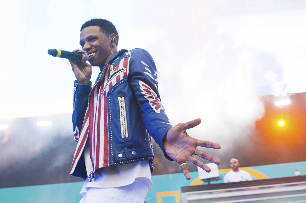 Rapper A Boogie wit da Hoodie performs at HOT 97 Summer Jam 2018 at MetLife Stadium on Sunday, June 10, 2018, in East Rutherford, New Jersey. (Photo by Scott Roth/Invision/AP)