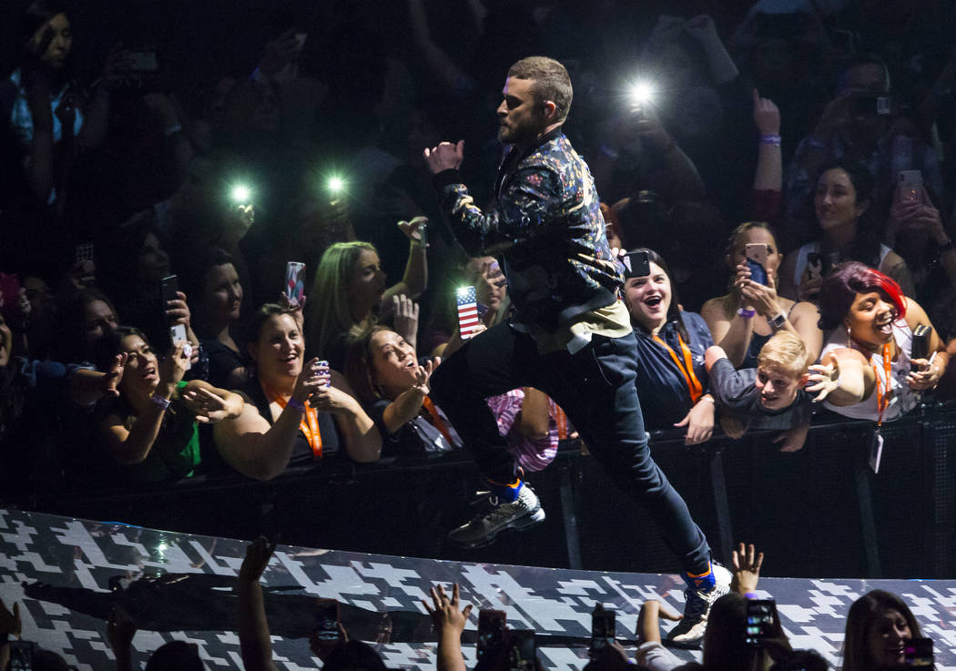 Justin Timberlake performs at T-Mobile Arena in Las Vegas on Saturday, April 14, 2018. Chase Stevens Las Vegas Review-Journal @csstevensphoto