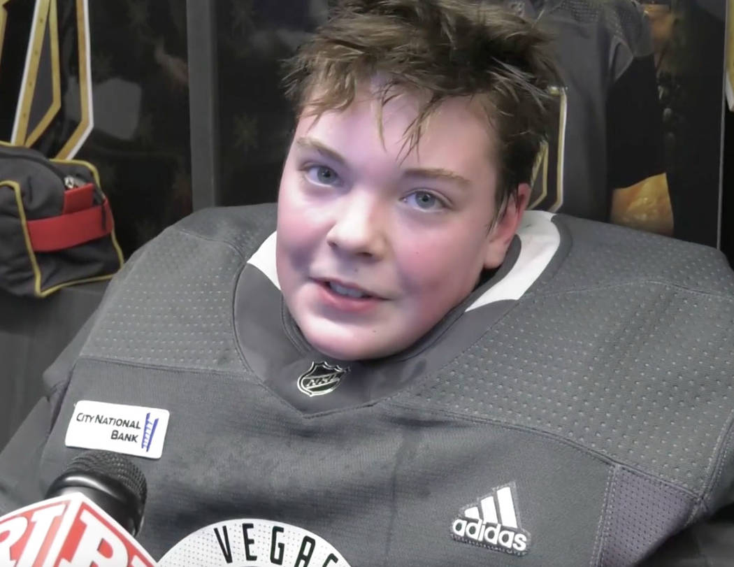 Honorary Golden Knights player Jay Procter, 12, speaks to reporters after a practice with Golden Knights players at City National Arena in Las Vegas, Friday, Feb. 15, 2019. (Cassie Soto/ Las Vegas ...