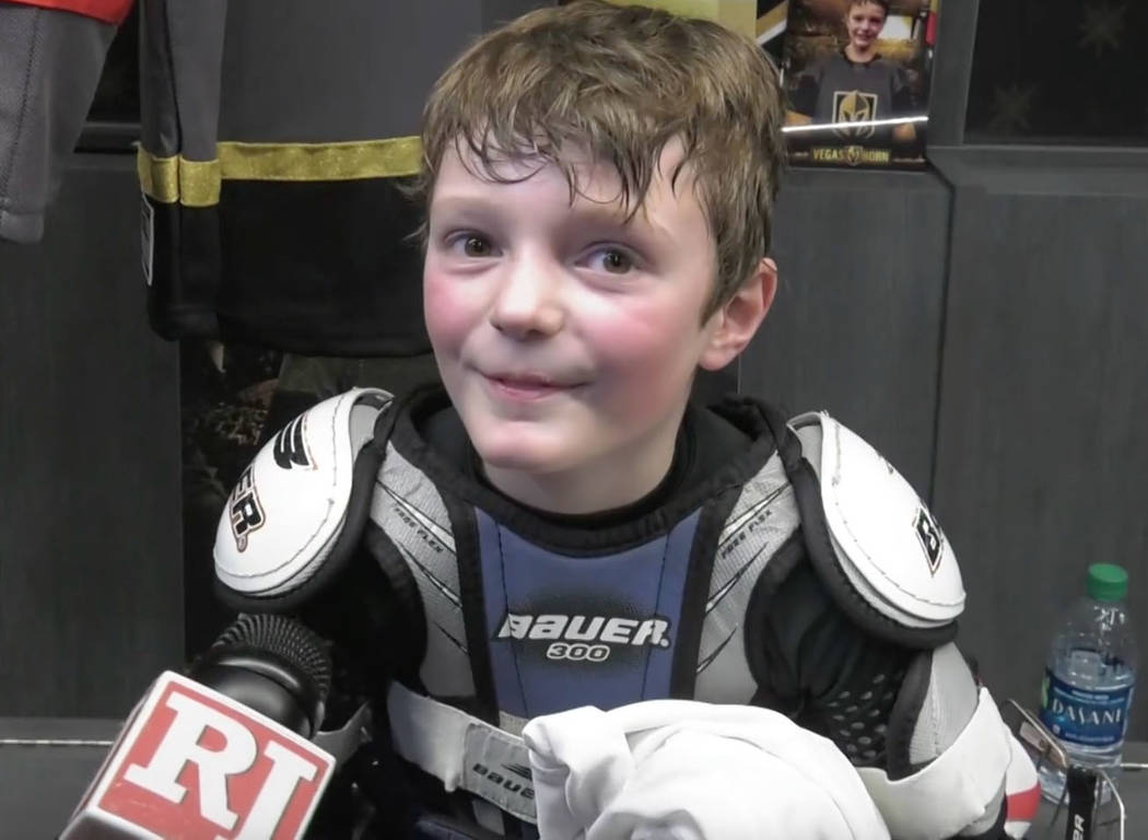 Honorary Golden Knights player Jace Owen, 8, speaks to reporters after a practice with Golden Knights players at City National Arena in Las Vegas, Friday, Feb. 15, 2019. (Cassie Soto/ Las Vegas Re ...