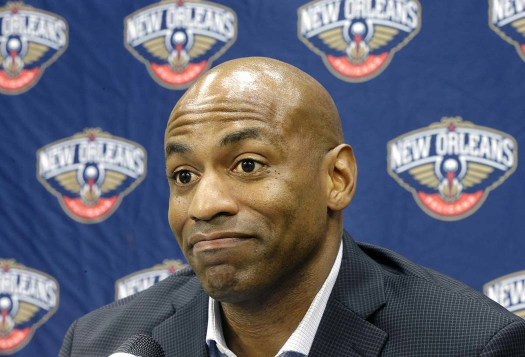 In this May 12, 2015, file photo, New Orleans Pelicans general manager Dell Demps speaks during an NBA basketball news conference at the team's practice facility in Metairie, La. A person familiar ...