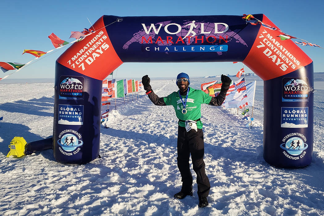 Michael Crome poses at the end of his race in Perth, Australia on Feb. 3. (World Marathon Challenge)