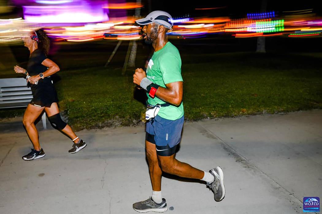 Michael Crome runs the race in Miami on Feb. 7. (World Marathon Challenge)