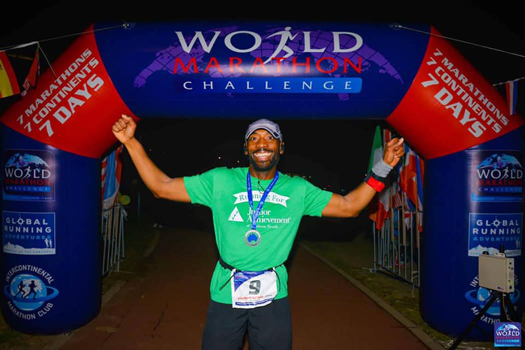Michael Crome finishes the race in Perth, Australia on Feb. 3. (World Marathon Challenge)